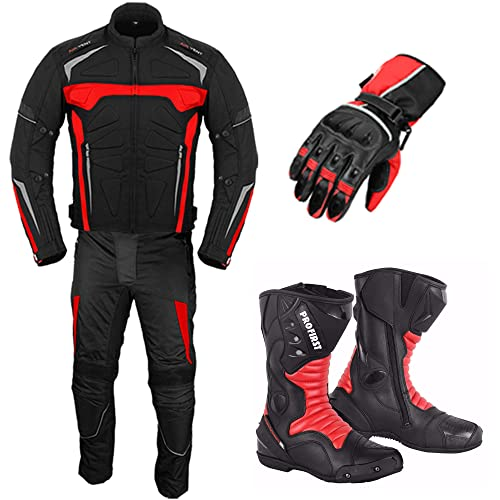 40chest// 34 waist, red Motorcycle Motorbike suits for men 2 piece Motorcycle waterproof Cordura Fabric Suit Jacket Trouser for men All Weather
