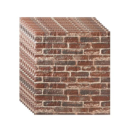 Buy Brick Wall Panels Peel And Stick Self Adhesive 3d Foam Stone Textured White Faux Wallpaper Tiles For Living Bedroom Tv Background Home Decor Diy Color Retro Red Size 30pcs Online