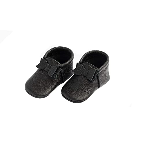 First Pair Soft Sole Leather Bow Moccasins Baby Girl Shoes Infant Sizes 0-3 Multiple Colors