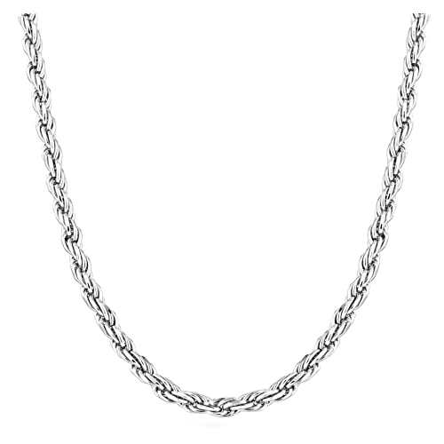 Miabella Sterling Silver Italian 2mm 8 9 3mm Solid Diamond-Cut Braided Rope Chain Necklace Anklet Bracelet 925 Italy 6.5 26 24 18 16, 2mm 30 Inch 20 16 22 7 28 8.5 7.5