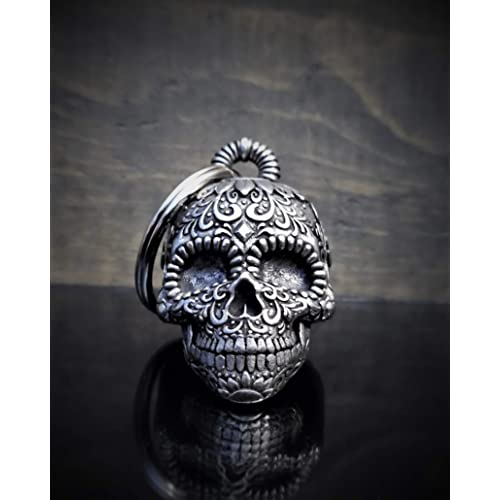 Bravo Bells 3-D Sugar Skull Bell for Motorcycle Biker Accessory or Keychain Bell