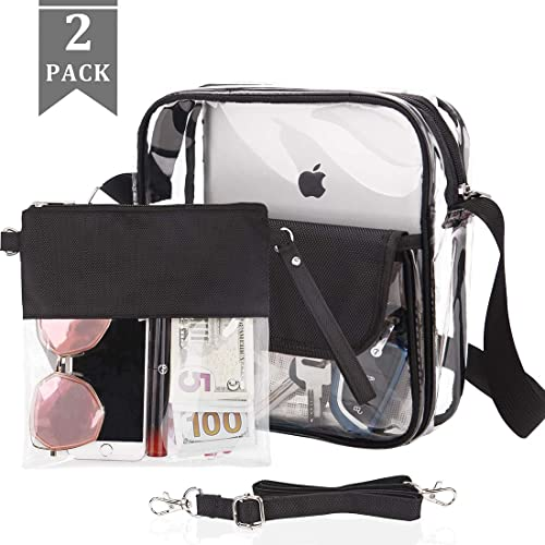 qia-QQ Clear Purse for Women Gift Stadium Approved Bags Clear Crossbody Bag Cute for Sports Concert Prom Party Present