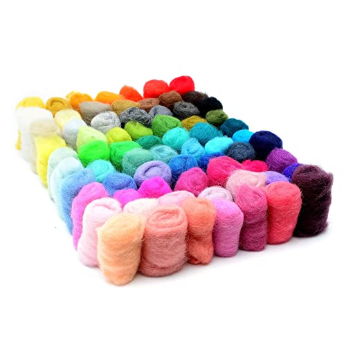 Unspun Roving Wool for Felting and Felting Yarn Craft Supplies 20gram per Color Glaciart One Spinning Fiber Merino Wool Super Soft 10 Colors