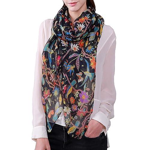 Womens Ladies Long Fashion Neck Flower Bird Print Pattern Shawl Scarf Scarves