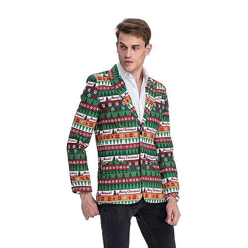 Mens Christmas Party Blazer Jacket with Festival Print Bachelor Novelty Costume Jacket Regular Fit
