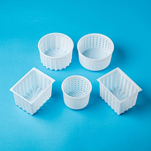 Prime Cheese making Set Cheese molds 4 pcs Blue+White for Hard and Soft Cheese Original HOZPROM Cheesemaking equipment supplies Camembert Cow Goat Milk Rennet Cheese mould Molde Queso Cheese