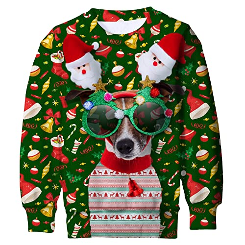 Funnycokid Kids Ugly Christmas Sweater Boys Girls 3D Print Xmas Fleece Pullover Sweatshirt 4-16Y
