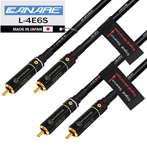 Gold TRS Stereo Phone Plugs Custom Made by WORLDS BEST CABLES. Canare L-4E6S Star Quad 4 Units 6 Inch Patch Cable terminated with Neutrik-Rean NYS /¼ Inch 6.35mm