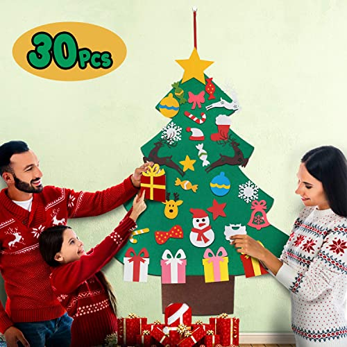Buy Balhvit 3d Diy Felt Christmas Tree For Toddlers With 30pcs Detachable Ornaments Set Christmas Decorations Xmas Gifts For Kids New Year Door Wall Hanging Home Decor Christmas Decor Party Supplies Online