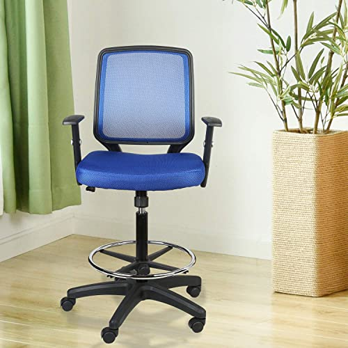 LUCKWIND Office Drafting Chair Mesh SGS-BIFMA Blue Adjustable Arm Task Ergonomic Lumbar Support Mid Mesh Back Computer Desk Chair Swivel Chair with Adjustable Chrome Foot Rest Big and Tall Tilt