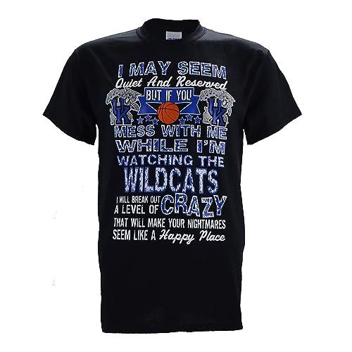 University of Kentucky Wildcats UK Quiet Cats on a Black T Shirt
