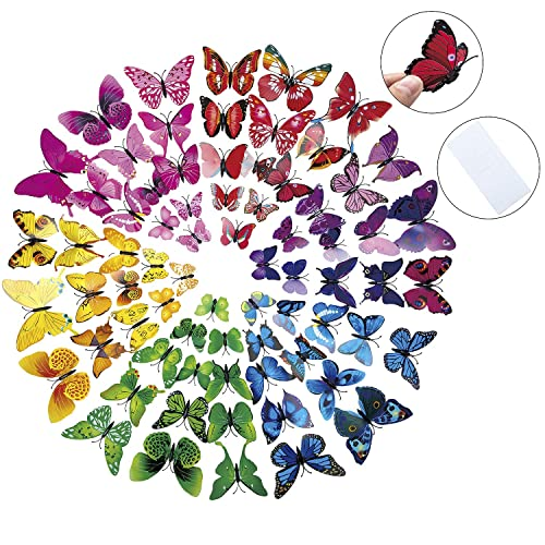 Buy Closeus 84pcs 3d Butterfly Wall Stickers Diy Art Decor Colorful Decals For Nursery Classroom Kids Baby Bedroom Living Room Magnets And Sponge Glue Online In Bahrain B07mdm4fgm