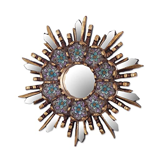 Buy Novica Blue Floral Reverse Painted Glass Bronze Leaf Starburst Wall Mounted Mirror Cuzco Meadow Online In Bahrain B07b1rdt8g