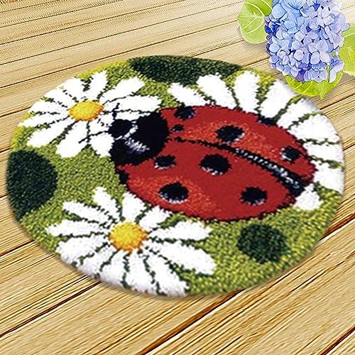 Bonarty Flower Model Dog Latch Hook Kit Rug DIY Needle Craft Shaggy Red Flower 17 by 17 Inch