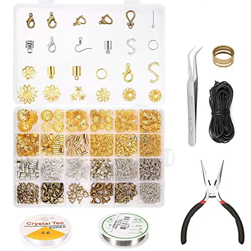 CHSEEO Jewellery Making Starter Set Jewelry Findings Kit Craft Supplies Pendants Beads Charms Jewellery Repair Tools for Crafting Necklace #1 Earrings Bracelets
