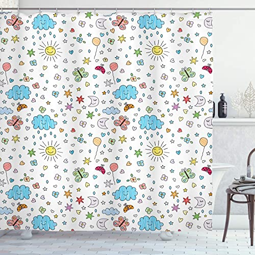 Buy Ambesonne Home Decor Collection Smiling Sun Moon Stars Clouds Flowers Butterflies Ladybugs Heart Shapes Children Art Print Polyester Fabric Bathroom Shower Curtain Set With Hooks Blue Yellow Online In Bahrain B07v5jvm87