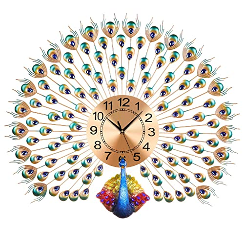 Buy Langshi Peacock Wall Clock Wall Battery Power Online In Bahrain B07tbqs46j