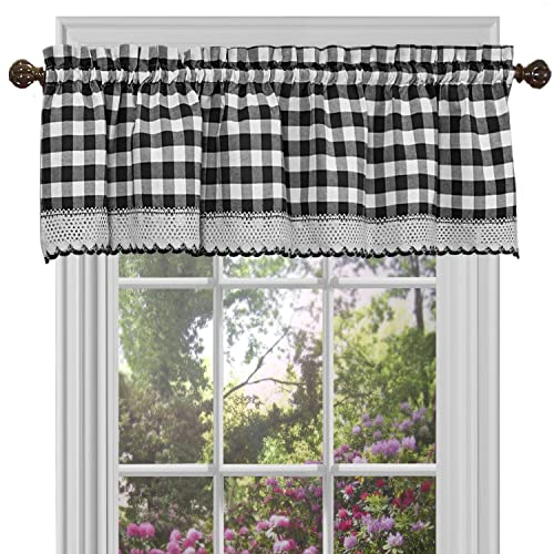 Buy Achim Home Furnishings Bcvl14bw12 Black White Buffalo Check Window Curtain Valance 58 X 14 Online In Bahrain B0842xxn92