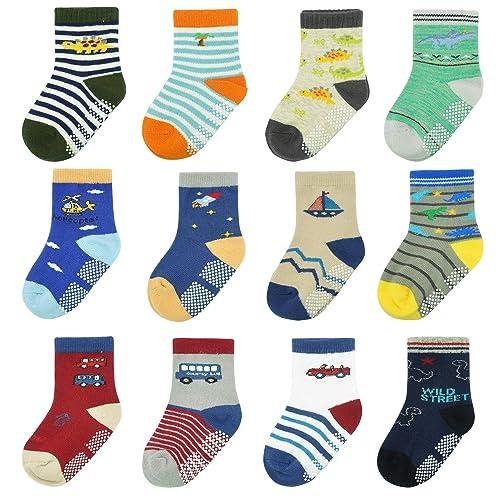 12 Pairs Kids Non Slip Skid Socks Grips Sticky Slippery Cotton Crew Socks For 1-3//3-5//5-7 Years Old Children Youth Boy Girl/…