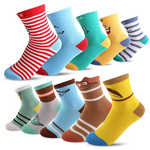 Seekay Boys 10 Pairs Colorful Fashion Cotton Crew Socks