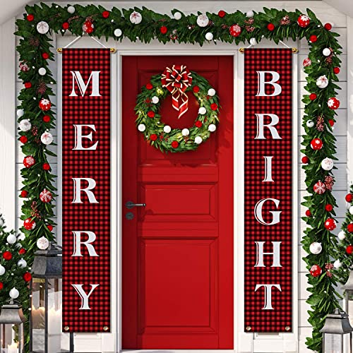 Aneco Christmas Decorations Banner Christmas Hanging Porch Sign Merry Christmas Bright Porch Sign Banner Red Xmas Welcome Christmas Outdoor Sign For Home Wall Door Decorations Buy Products Online With Ubuy Bahrain