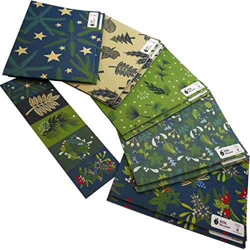 10 Sheets of 100gsm 100/% Recycled Eco Friendly Xmas Gift Wrap Wrapping Paper Set with Tags by Re-wrapped Kate Heiss Christmas Brown Ten Pack