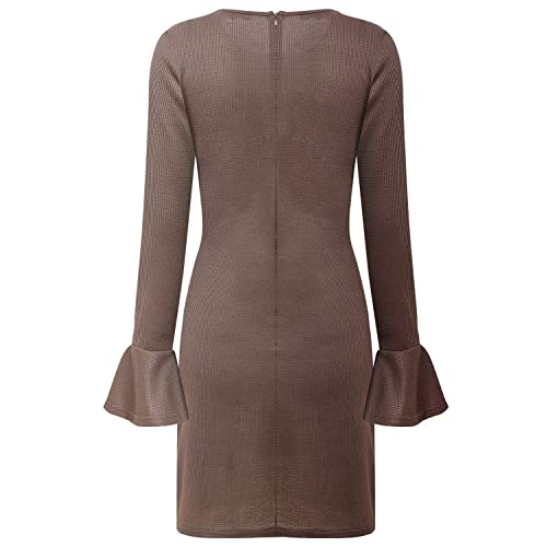 Aliling Womens Elastic Flared Long Sleeve Wrap Tie Bodycon Dress Casual Knitted Sweater Dresses
