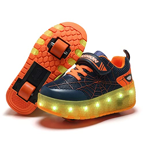 Skybird-UK Kids 7 Colors Changing Upgraded LED Strips Wheel Roller Skate Shoes Retractable Technical Skateboarding Sport Outdoor Cross Trainers Vibration Illuminate Gymnastics Sneaker for Boys Girls
