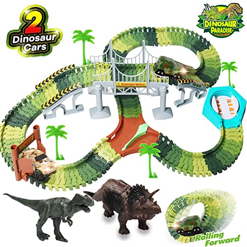 TTOUADY Dinosaur Toys Trains Race Car Track Sets 158 Tracks 2 Cars 6 Dinosaurs Learning Toys for 3 4 5 6 7 8 Years Old Boys and Girls Awesome Gift for Kids