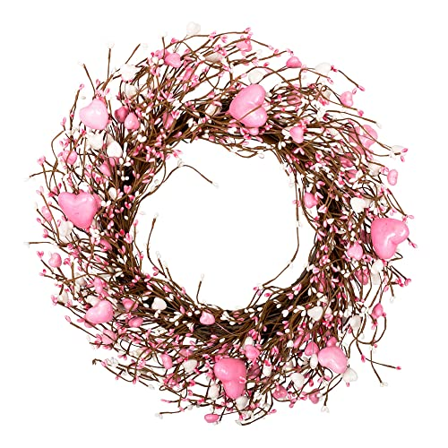 Buy Vgia 18 Inches Wreath Pink Pip Berry Wreath For Front Door Pink Heart Shaped Wreath Valentines Day Decorations Wall Decor Online In Bahrain B0842gdy85