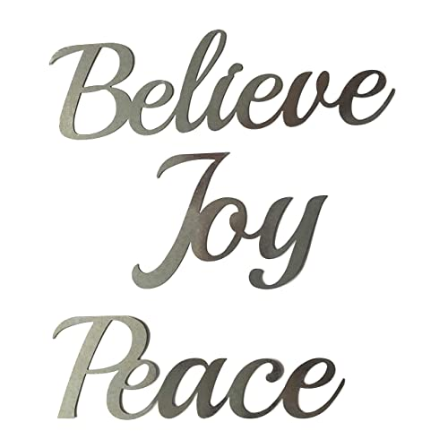 Buy Crafter S Square Greenbrier Metal Holiday Christmas Wall Hanging Artwork Decor Plaques 3 Cursive Words 9 In Peace Joy Believe Online In Bahrain B07zccy3fl
