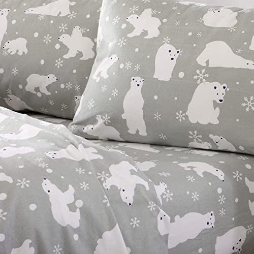 Home Fashion Designs Stratton Collection Extra Soft Printed 100 Turkish Cotton Flannel Sheet Set Warm Cozy Lightweight Luxury Winter Bed Sheets Brand Twin Xl Grey Polar Bears Buy Products Online With