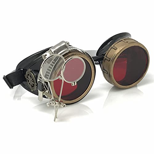 Steampunk Victorian Goggles Vintage Glasses with Double Loupe Lenses Punk Gothic Glasses Silver, Pointed Design