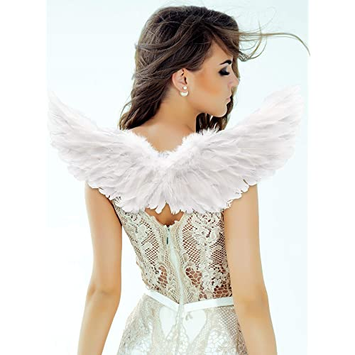 2 Pieces Angel Wings Feather Wings with Elastic Straps Halloween Costume Wings for Women Girls Cosplay