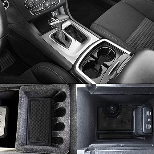 15PCS Blue Trim Car Slot Mat Gate Cushion Cup Coaster Pad Anti Slip CDEFG Custom Fit Cup Door and Center Console Liner Accessories for 2018 2019 Tiguan Allspace LWB with 7-Seat