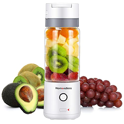 Smoothie Blender with A Vacuum Lid FDA Certificated 4000 mAh Rechargeable Batteries 7.4V Strong Power 14oz Glass Cup Portable Blender 4 Blades Personal Blender for Office//Gym//Outdoors//Travel