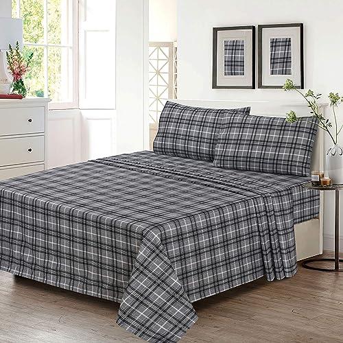 Ruvanti 100 Cotton 4 Piece Flannel Sheets Queen Deep Pocket Warm Super Soft Breathable Flannel Bed Sheets Set Queen Include Flat Sheet Fitted Sheet 2 Pillowcases Buffalo