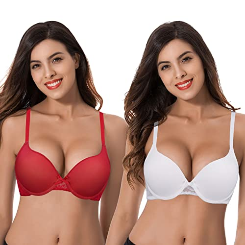 Curve Muse Women Plus Size Perfect Shape Add 1 Cup Push Up Underwire Tshirt Bra