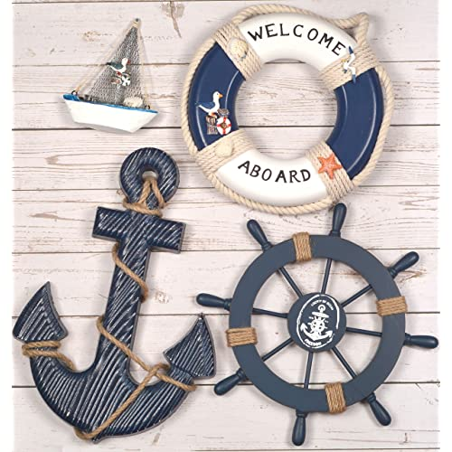 Buy Wooden Nautical Lighthouse Anchor Wall Hanging Ornament Beach Wooden Boat Ship Steering Wheel Wall Decor Nautical Sailing Ship Table Display Decor Nautical Life Ring Wall Blue Blue Online In Bahrain B07yf8rwl3