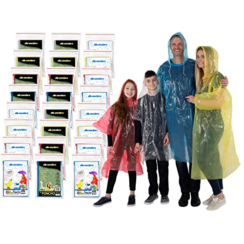 Rain Poncho Family Pack Emergency Ponchos for Kids Adult Men Women Teens Children Premium Quality 50/% Thicker Disposable Raincoat with Drawstring Hood Waterproof Camping Hiking Sports Outdoor Events