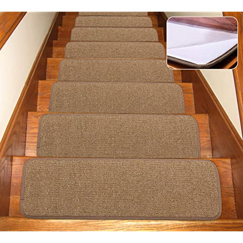 Non-Slip Stair Treads,FOME Set of 13 Stairs Treads Carpet Luminous Non Slip Stair Mats Indoor Adhesive Backing Glowing at Night Light Home Decor Wooden Staircase 27.55x7.78in.