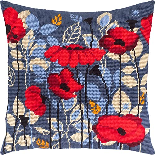 European Quality A Cat in Poppies Needlepoint Kit Printed Tapestry Canvas Throw Pillow 16/×16 Inches