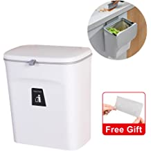 Aogist Hanging Trash Can With Sliding Cover Wall Mounted Trash Bin Waste Bin With Lid For Kitchen Cabinet Door Bathroom Toilet Bedroom Living Room White Buy Products Online With Ubuy Bahrain In