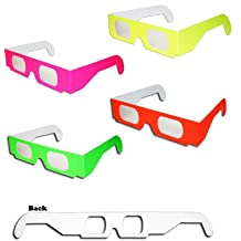 SJLHP 3D Glasses Hearts Fireworks Diffraction Glasses Special Effect Light for Outdoor Music Party//Bar//Fireworks Displays,Black