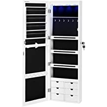 1d4ab941c SONGMICS LED Jewelry Cabinet Armoire with 6 Drawers Lockable Door/Wall  Mounted Jewelry Organizer White