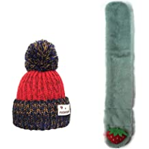 Winter Hat Scarf Set for Kids Thick Knit Warm Hat and Soft Plush Scarf for Boys Girls Cute Winter Hats Scarf with Hairball