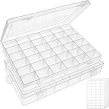 Outuxed Plastic Organizer Box with Dividers 36 Grids Clear Storage Container Jewelry Box with Adjustable Dividers for Beads Arts Crafts Diamond Painting Accessories Fishing Tackles