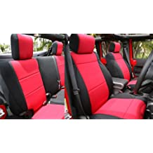 Front Seats, Red on Black GEARFLAG PVC Leather Seat Cover Custom Fits F150 Pickup 2015-2020 Diamond Pattern Stitches Front Set w//Center Console