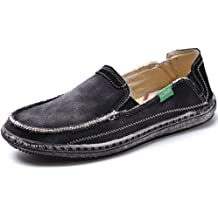 53b0150e877af5 VILOCY Men's Slip on Deck Shoes Canvas Loafer Vintage Flat Boat Shoes