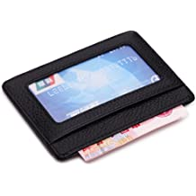 6303556e36ee MEKU Slim Leather Wallet Credit Card Case Sleeve Card Holder With ID Window